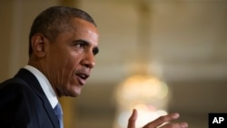 President Barack Obama speaks in the East Room of the White House in Washington, July 13, 2015.