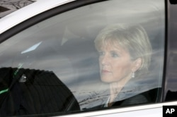 Australian Foreign Minister Julie Bishop arrives at the Commonwealth Parliament Offices in Sydney, July 18, 2014.
