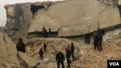 16 مارچ کو حلب میں ہونے والے حملے میں عمارت مکمل طور پر تباہی ہو گئی تھی
