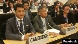 លោក ណី សំអុល (ឆ្វេង) ឯកអគ្គរាជទូត និងជាតំណាងអចិន្រ្តៃយ៍កម្ពុជាប្រចាំមន្ទីរអង្គការសហប្រជាជាតិ ចូលរួមសន្និសីទអន្តរជាតិខាងការងារលើកទី១០៧ នៃអង្គការអន្តរជាតិខាងការងារ (ILO) ដែលបានធ្វើឡើងនៅថ្ងៃទី២៨ ខែឧសភា ដល់ថ្ងៃទី៨ ខែមិថុនា ឆ្នាំ២០១៨ នៅទីក្រុងហ្សឺណែវ ប្រទេសស្វីស។ (រូបថតពីទំព័រហ្វេសប៊ុករបស់ The Permanent Mission of the Kingdom of Cambodia to the UN at Geneva)