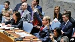 Vote sur des sanctions contre des individus, organisations et compagnies impliquées dans des attaques à l'arme chimique en Syrie, Conseil de sécurité de l'ONU, le 28 février 2017.