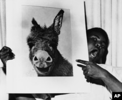 Muhammad Ali holds a picture, saying it bears resemblance to then heavyweight boxing champion Sonny Liston at a party at the Las Vegas Press Club on July 19, 1963.