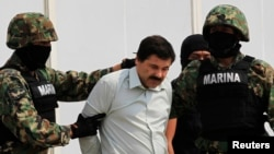 Joaquin Guzman (C) is escorted by soldiers in Mexico City, Feb. 22, 2014.