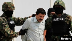 Joaquin Guzman (C) is escorted by soldiers in Mexico City Feb. 22, 2014.