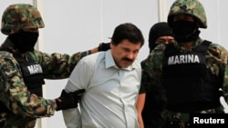 Joaquin Guzman is escorted by soldiers in Mexico City on February 22, 2014.