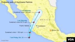 23일 오후 멕시코 남서부 지역에 상륙할 것으로 전망하는 초강력 허리케인 '퍼트리샤'의 이동경로. 북동부 방향으로 이동할 것으로 보인다.