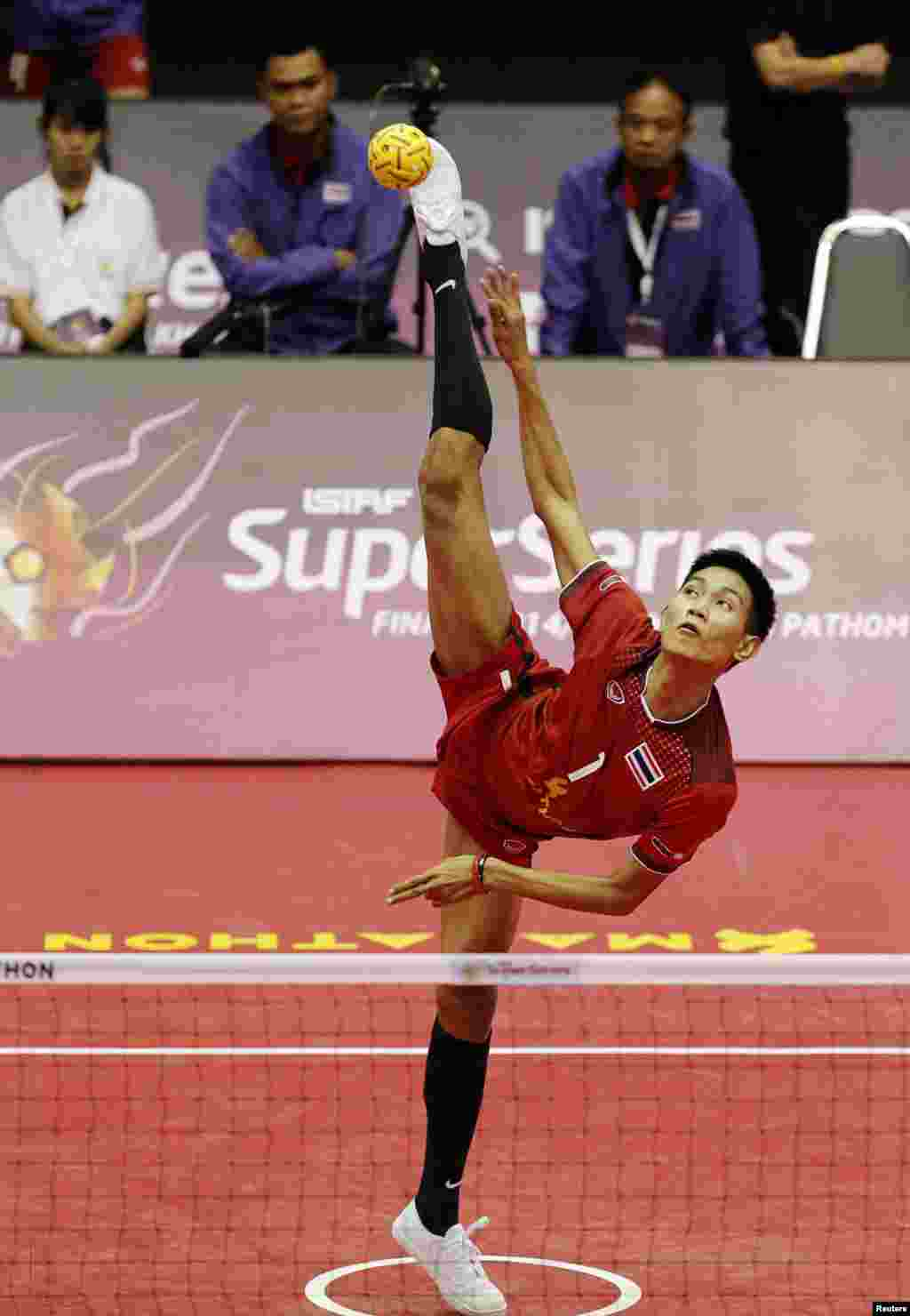 Sitting Khamchan of Thailand is seen in action against Myanmar during their group stage match in the Sepak Takraw Super Series Finals at the Nakhon Pathom Municipal Gymnasium, Thailand. (Credit: Asia Sports Ventures / Action Images via Reuters Livepic)