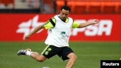 Xavi Hernandez lors d'une séance d'entrainement avec le FC Barcelone, USA, le 5 juin 2014