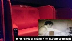 """Hình ảnh cặp đôi """"mây mưa"""" được ghi lại qua camera và tung lên mạng và hình ảnh chiếc ghế Sweetbox trong rạp chiếu phim của CGV. (Ảnh chụp màn hình trang web của Thanh Niên)"""