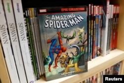 Komik Spider-Man tampak dalam foto ilustrasi, 12 November 2018.