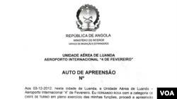 Auto de apreensão dos passaportes a Adriano Parreira