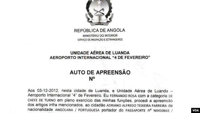 Auto de apreensão dos passaportes entregue pelo SME a Adriano Parreira