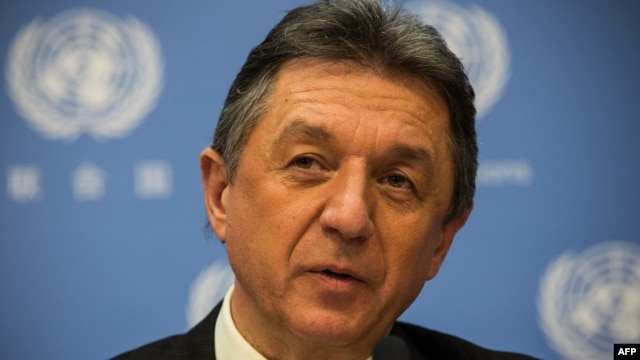 Ukrainian representative to the United Nations, Yuriy Sergeyev, speaks during a press conference about the ongoing social upheaval in Ukraine, Feb. 24, 2014 at the United Nations in New York City.