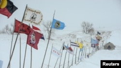 The Oceti Sakowin camp during a snowstorm as activists continue to protest the Dakota Access pipeline near the Standing Rock Indian Reservation, near Cannon Ball, North Dakota, Nov. 29, 2016.