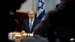 色列總理內塔尼亞胡星期天在耶路撒冷出席每周的內閣會議。