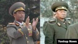 북한 새 인민무력부장에 임명된 것으로 알려진 김격식(오른쪽)과 불과 한 달 전까지만 해도 김정은 제1위원장을 수행하다가 갑자기 교체된 김정각.