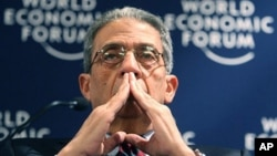 Amr Moussa, Secretary General of the Arab League, reacts during a session regarding security in the 21st century at the opening day of the Annual Meeting of the World Economic Forum in Davos, Switzerland, Wednesday Jan. 27, 2010. (AP Photo/ Michel Euler)