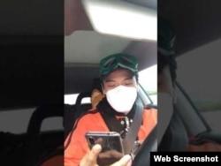 公民记者、前央视主持人李泽华2月26日探访武汉疫区途中疑遭警车尾随。(视频截图)