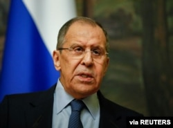 FILE - Russian Foreign Minister Sergey Lavrov attends a news conference in Moscow, Russia, April 16, 2021.