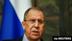 Russian Foreign Minister Sergey Lavrov attends a news conference in Moscow, Russia, April 16, 2021.