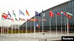 Cờ của các thành viên NATO tại trụ sở của khối ở Brussels, Bỉ (26/11/2019)