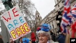 31일 영국 런던에서 '브렉시트' 유럽연합 탈퇴 지지자들의 축하 집회가 열렸다.
