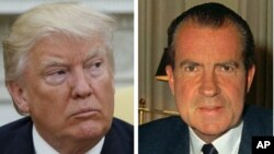 This combination photo shows President Donald Trump (left) talks to reporters in the Oval Office of the White House, May 10, 2017, and President Richard M. Nixon, at his desk in the White House, Feb. 16, 1969.