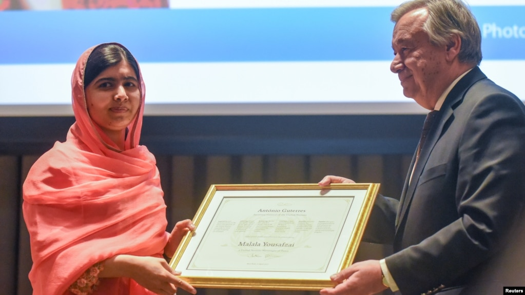 Malala Yousafzai attends a ceremony with United Nations Secretary-General Antonio Guterres after being selected a United Nations messenger of peace in New York, New York, April 10, 2017.