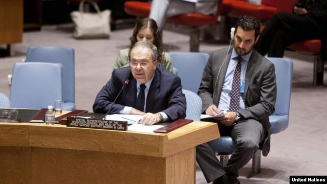 Special Representative and head of the UN Support Mission in Libya (UNSMIL), Tarek Mitri, addresses the Security Council in New York, June 18, 2013.
