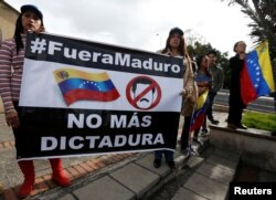 Venezuelans living in Colombia demonstrate against the constitutional assembly promoted by President Nicolas Maduro's government in Bogota, Colombia, July 29, 2017.
