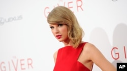 "Taylor Swift attends the world premiere of ""The Giver"" at the Ziegfeld Theater on Aug. 11, 2014, in New York."
