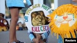 Piper Hoppe, 10, dari Minnetonka, Minnesota, memegang poster di pintu masuk klinik gigi River Bluff memprotes pembunuhan seekor singa populer di Zimbabwe, di Bloomington, Minnesota 29 Juli 2015.