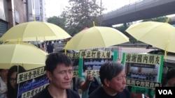 港人抗議拘捕聲援雨傘運動內地人士