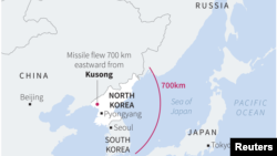 Map showing range of missile recently launched by North Korea.