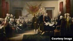 ພາບແຕ້ມ ການປະກາດ ເອກະລາດ ດ້ວຍສີນໍ້າມັນ ໃສ່ຜ້າ ຂະໜາດ 3 ຄູນ 5 ແມັດ ຂອງທ່ານ John Trumbull ທີ່ ແຂວນຢູ່ໃນ ຕຶກລັດຖະສະພາ ສະຫະລັດ ຮູບຊົງກົມ ຫຼື US Capitol Rotunda ທີ່ພັນລະນາ ພິທີມອບ ຮ່າງຄຳປະກາດ ເອກະລາດ ຕໍ່ລັດຖະສະພາ.