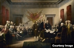 John Trumbull's Declaration of Independence is a 3-by-5-meter oil-on-canvas painting in the United States Capitol Rotunda that depicts the presentation of the draft of the Declaration of Independence to Congress.