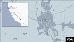 اس نقشے میں 'کار فائر' سے متاثرہ علاقہ دیکھا جاسکتا ہے۔