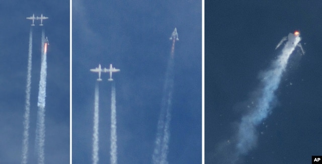 FILE - This combination of photos shows the Virgin Galactic SpaceShipTwo rocket separating from the carrier aircraft, left, prior to it exploding in the air, right, during a test flight over the Mojave Desert, Oct. 31, 2014.