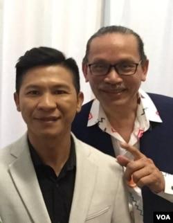 Nghị viên Tâm Nguyễn, bên phải, với nhạc sĩ Việt Khang. (Ảnh: Bùi Văn Phú)