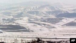 朝鲜和韩国边界附近的朝鲜哨所