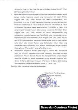 Surat keputusan Bawaslu mengenai mantan terpidana korupsi, hal 2.