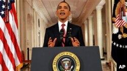 Shugaba Obama a lokacin da yake jawabi ga Amurkawa, a daren jiya.