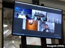 Sidang kasus korupsi Wali Kota Medan nonaktif, Dzulmi Eldin, secara telekonferensi di Pengadilan Negeri Medan, Kamis 11 Juni 2020. (Anugrah Andriansyah).