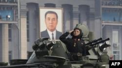 Binh sĩ Bắc Triều Tiên trong cuộc diễu hành quân sự ở Bình Nhưỡng