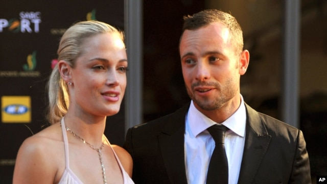 Oscar Pistorius might claim self defense against charges he murdered girlfriend Reeva Steenkamp (left) seen here with the sprinter at an awards ceremony in Johannesburg, South Africa, Nov. 4, 2012.