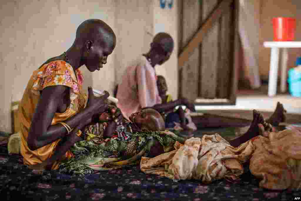 Malnourished children receive treatment at the Leer Hospital, South Sudan. Hundreds of thousands of people were cut off from critical, lifesaving medical care after the Leer Hospital, run by Medecins Sans Frontieres (Doctors Without Borders), was ransacked and destroyed in the final days of January and early February.
