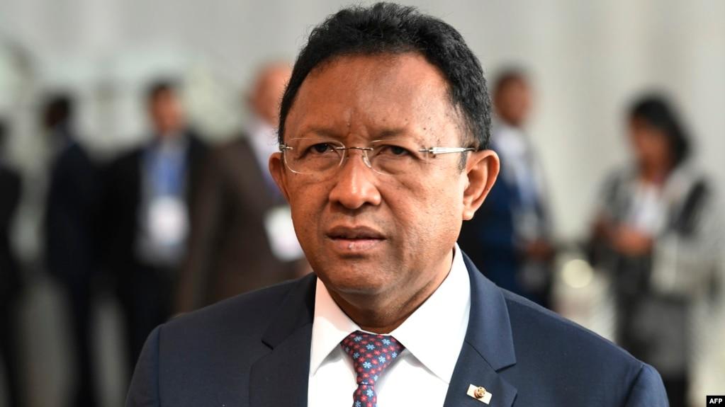 Le Président malgache Hery Rajaonarimampianina à la session ordinaire de la Conférence des Chefs d'Etat et de gouvernement de l'Union africaine (UA) lors du 30ème sommet annuel de l'UA à Addis Abeba le 29 janvier 2018.