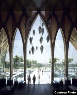 គំរូប្លង់នៃវិទ្យាស្ថានស្លឹករឹត ត្រូវបានរចនាប្លង់ដោយលោកស្រី Zaha Hadid ជាស្ថាបត្យករជាតិ អង់គ្លេស-អ៊ីរ៉ាក់ ដ៏ល្បីល្បាញមួយរួប។ វិទ្យាស្ថាននេះគឺជាមជ្ឈមណ្ឌលឈានមុខនៅក្នុងការសិក្សាពីអំពើប្រល័យពូជសាសន៍នៅក្នុងតំបន់អាស៊ី និងមានគោលបំណងជំរុញឲ្យមានការចងចាំ យុត្តិធម៌ និងការផ្សះផ្សានៅទូទាំងតំបន់។ (រូបថតផ្តល់ឲ្យដោយមជ្ឈមណ្ឌលឯកសារកម្ពុជា)