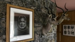 A portrait of Ernest Hemingway hangs above the fireplace next to game trophies in the house once owned by the novelist in Ketchum, Idaho