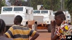 በማዕከላዊ አፍሪካ ሪፑብሊክ ዋና ከተማዋ ባንግዊ(Bangui) የተባበሩት መንግስታት ድርጅት ሰላም ጠባቂ ወታደሮች